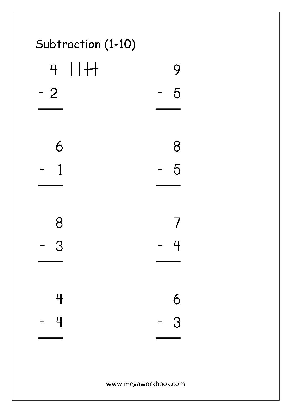 Math Worksheets Subtraction Megaworkbook