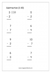 Math Worksheet - Subtraction Using Objects (1-10)