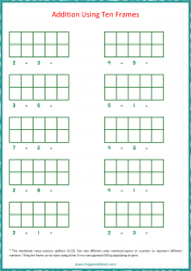 Ten Frame Worksheet - Addition 1 to 10 Using Ten Frames