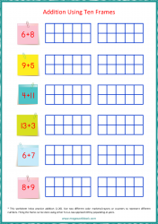 Ten Frame Worksheet - Addition 1 to 20 Using Ten Frames