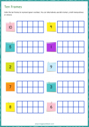 Ten Frame Worksheet - Counting - Represent Numbers 1 to 10
