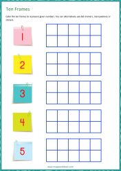 Ten Frame Worksheet - Counting - Represent Numbers 1 to 5
