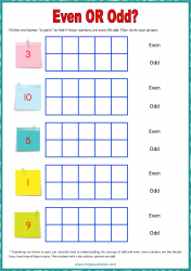 Ten Frame Worksheet - Even/Odd 1 to 10
