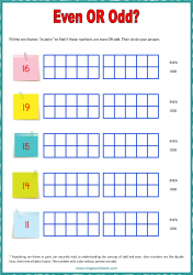 Ten Frame Worksheet - Even/Odd 11 to 20