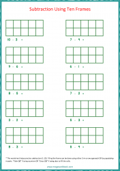Ten Frame Worksheet - Subtraction 1 to 10 Using Ten Frames