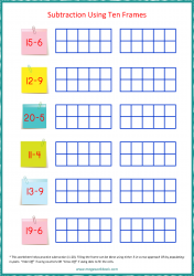 Ten Frame Worksheet - Subtraction 1 to 20 Using Ten Frames