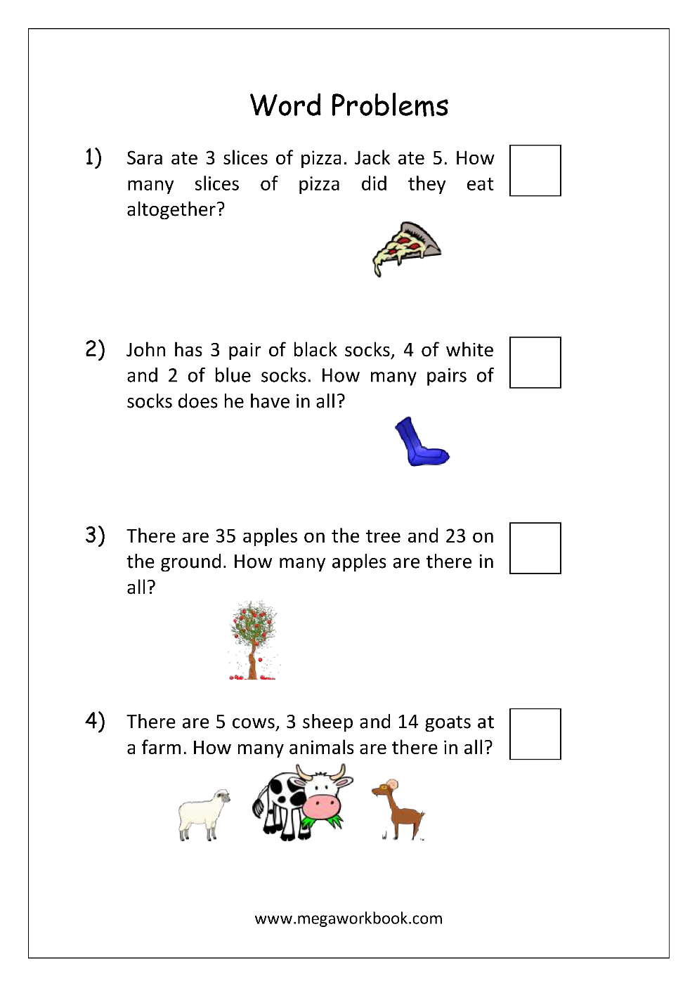 Word Problems on Kindergarten Math Worksheets With Animals
