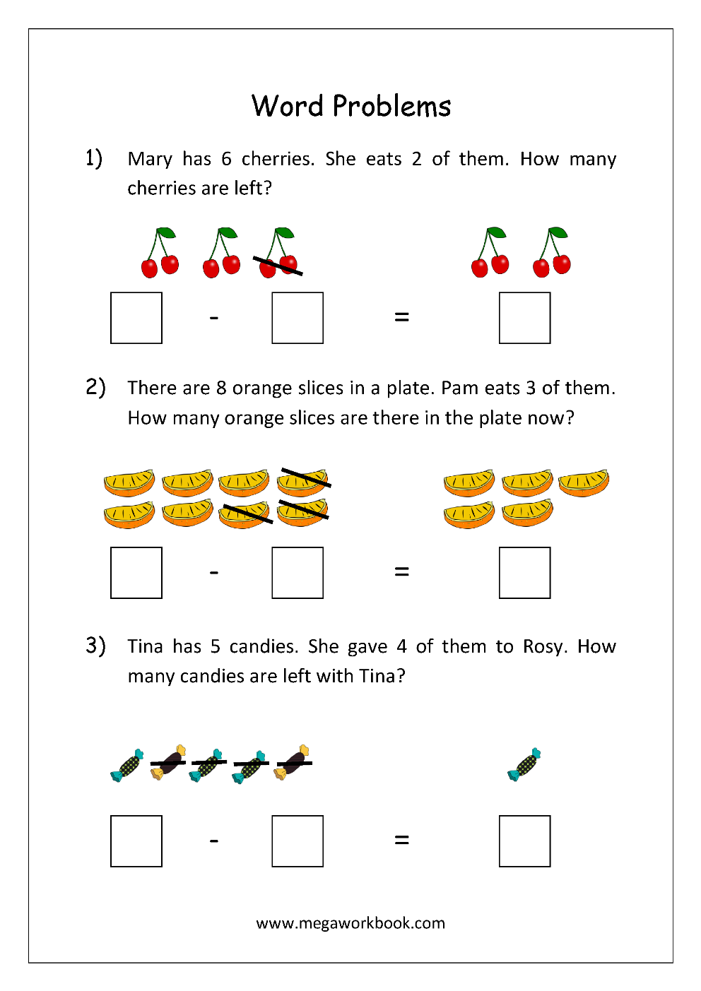 Word Problems MegaWorkbook – Subtraction Worksheets Word Problems
