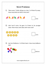 Math Subtraction Word Problems Worksheet - Solving Story Problems With Objects - Step By Step Example