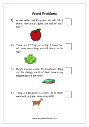 Math Subtraction Word Problems Worksheet - Solving Story Problems