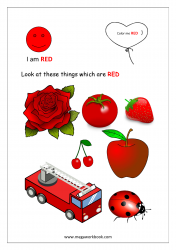 Color Recognition Worksheets for Preschool - Learn Basic Colors - Red
