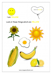 Color Recognition Worksheets for Preschool - Learn Basic Colors - Yellow