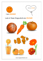 Color Recognition Worksheets for Preschool - Learn Basic Colors - Orange
