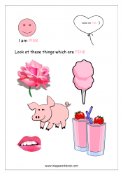 Color Recognition Worksheets for Preschool - Learn Basic Colors - Pink