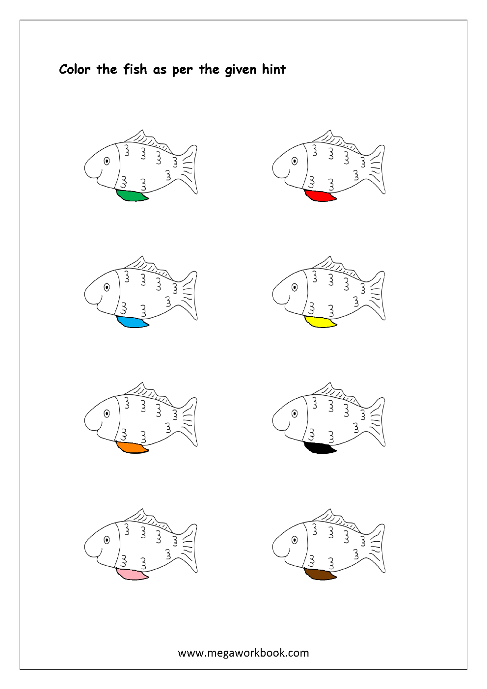 Color recognition worksheet color the objects using matching color fish