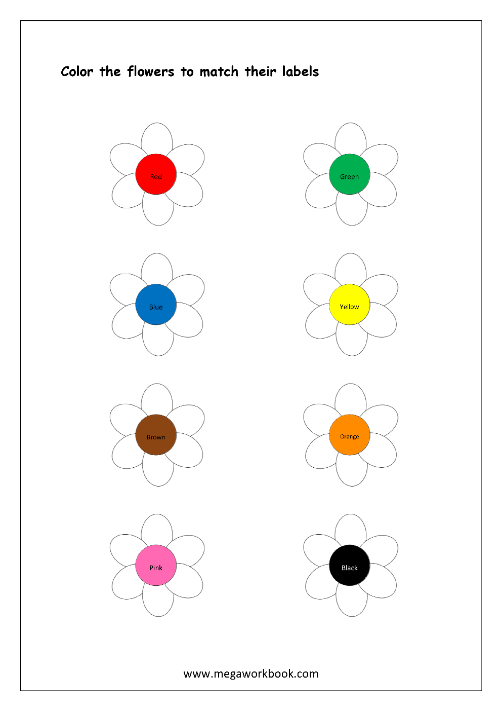 Color recognition worksheet color the objects using matching color flowers