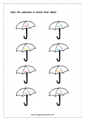 Color Recognition Worksheet - Color The Objects Using Matching Color - Umbrellas