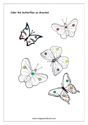 Color Recognition Worksheet - Color The Objects Using Matching Color - Butterflies