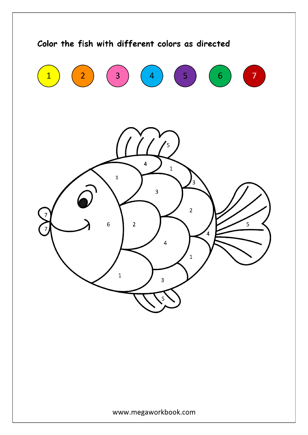 Color recognition worksheet color by number fish