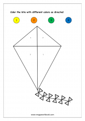 Color Recognition Worksheet - Color By Number - Kite