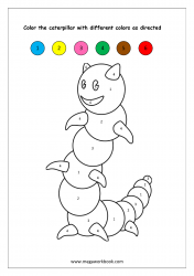 Color Recognition Worksheet - Color By Number - Caterpillar