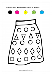 Color Recognition Worksheet - Color By Number - Skirt