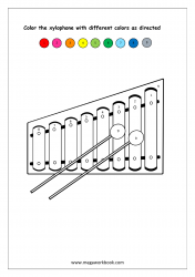 Color Recognition Worksheet - Color By Number - Xylophone
