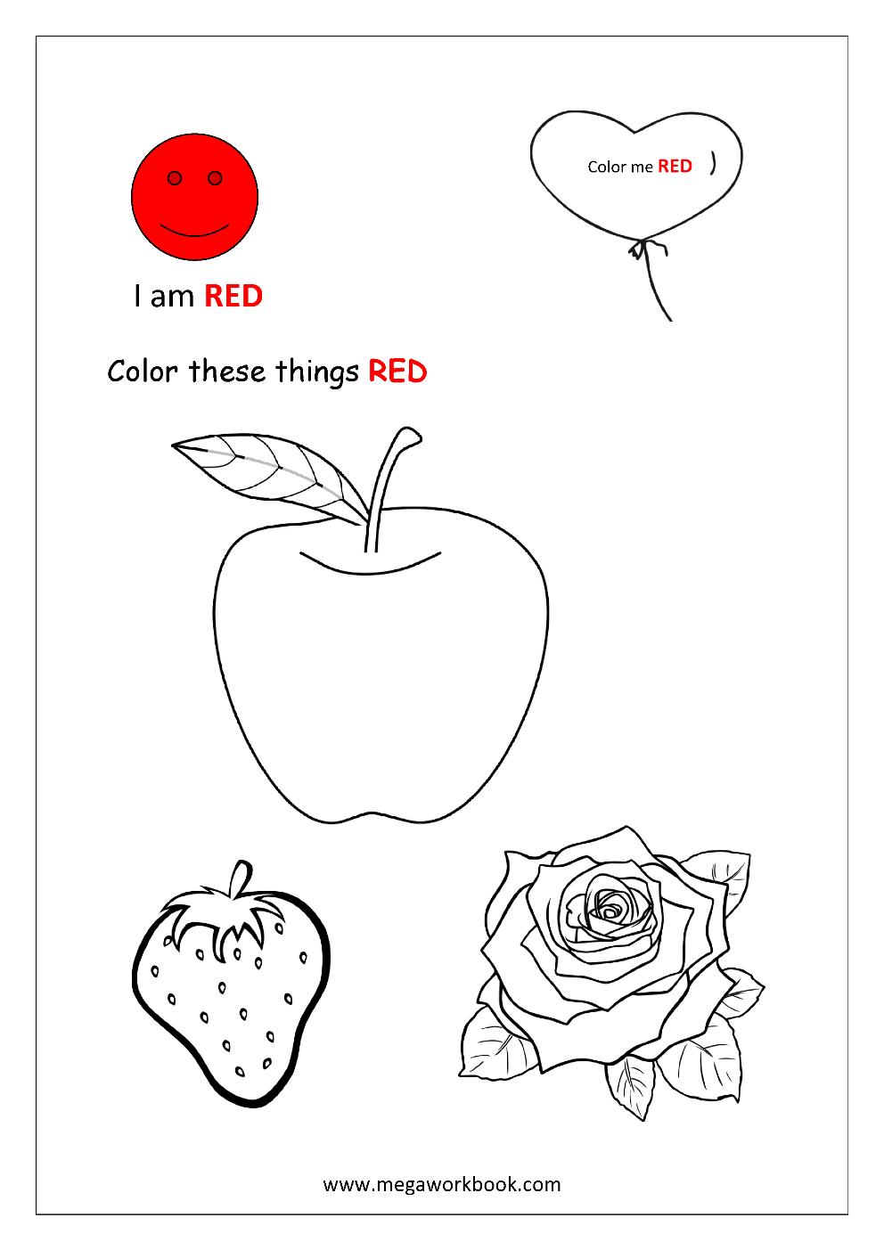 Learn Colors Red Coloring Pages Blue Coloring Pages