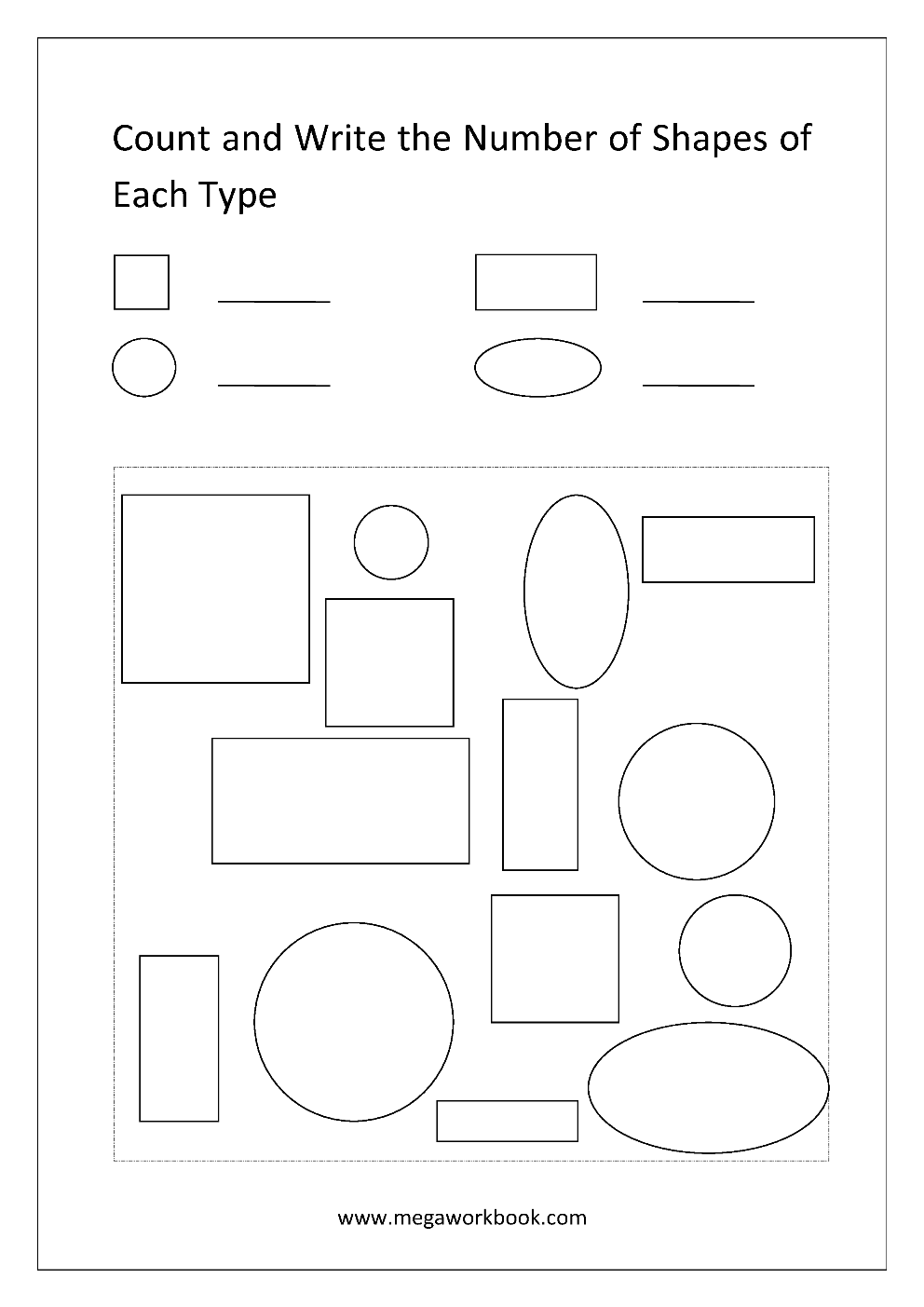 free printable shapes worksheets for preschool kindergarten counting the shapes identifying. Black Bedroom Furniture Sets. Home Design Ideas