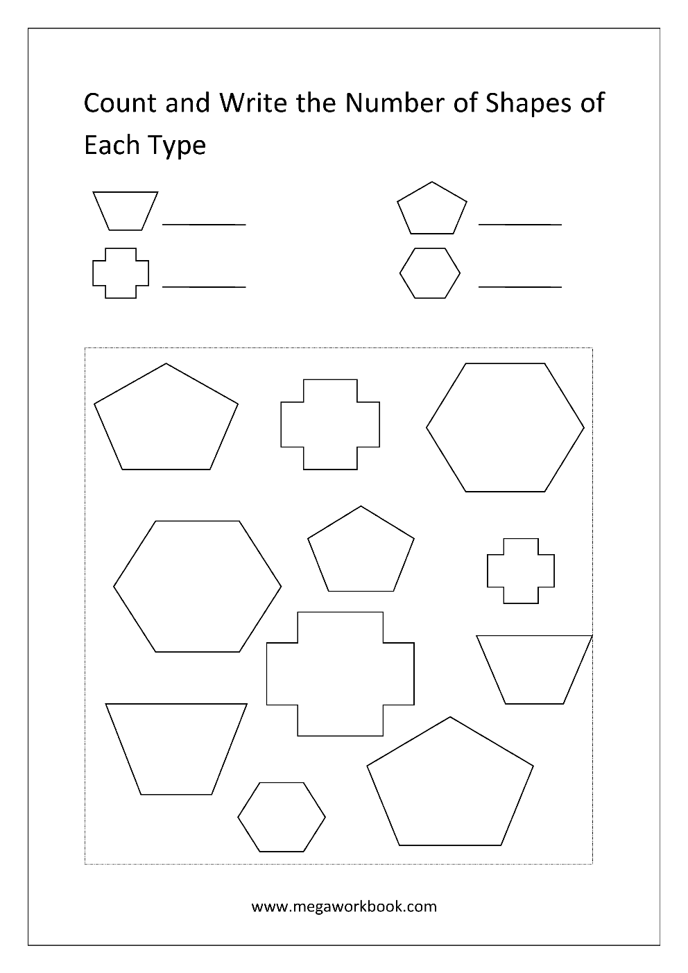 Free Shapes Worksheets Counting The Shapes Megaworkbook