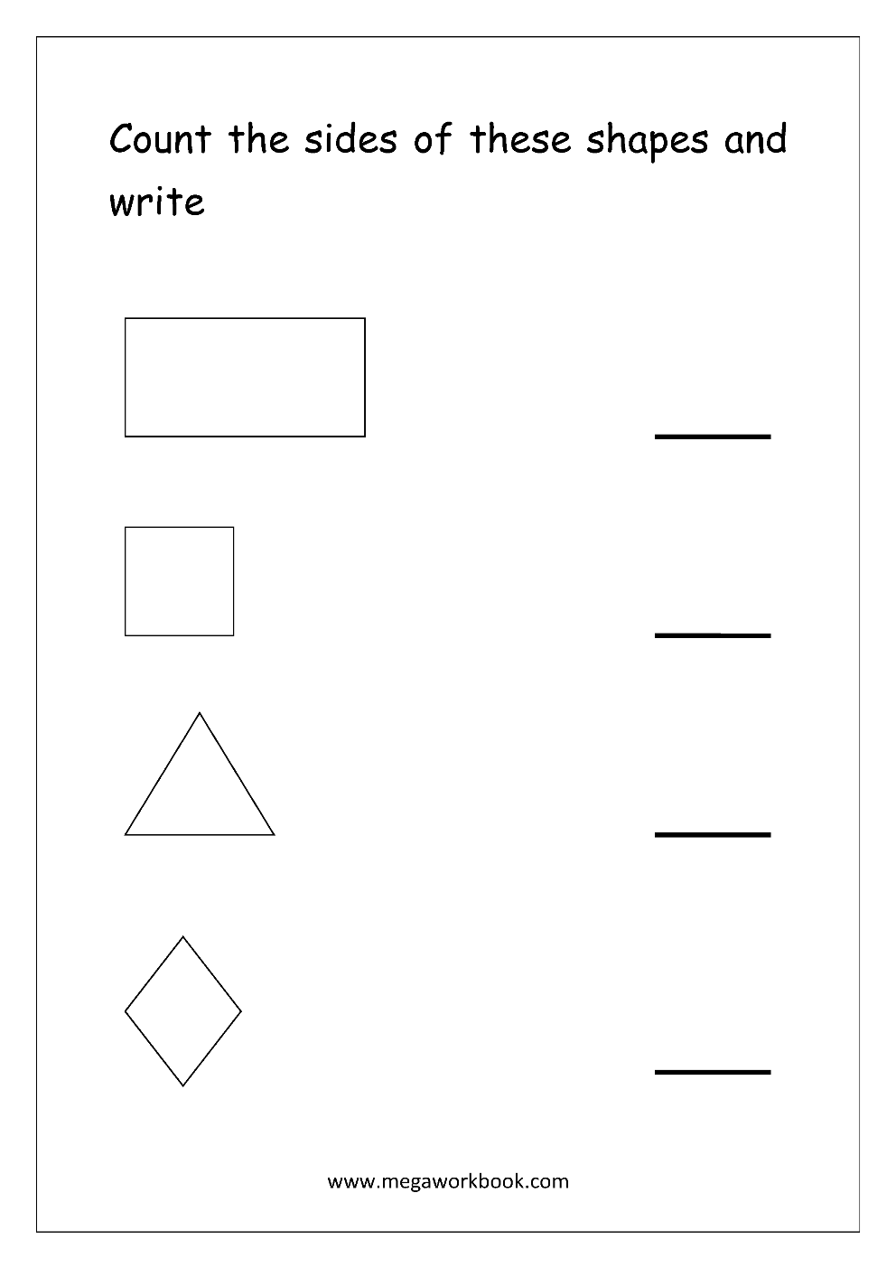 Free Shapes Worksheets - Counting The Shapes - MegaWorkbook