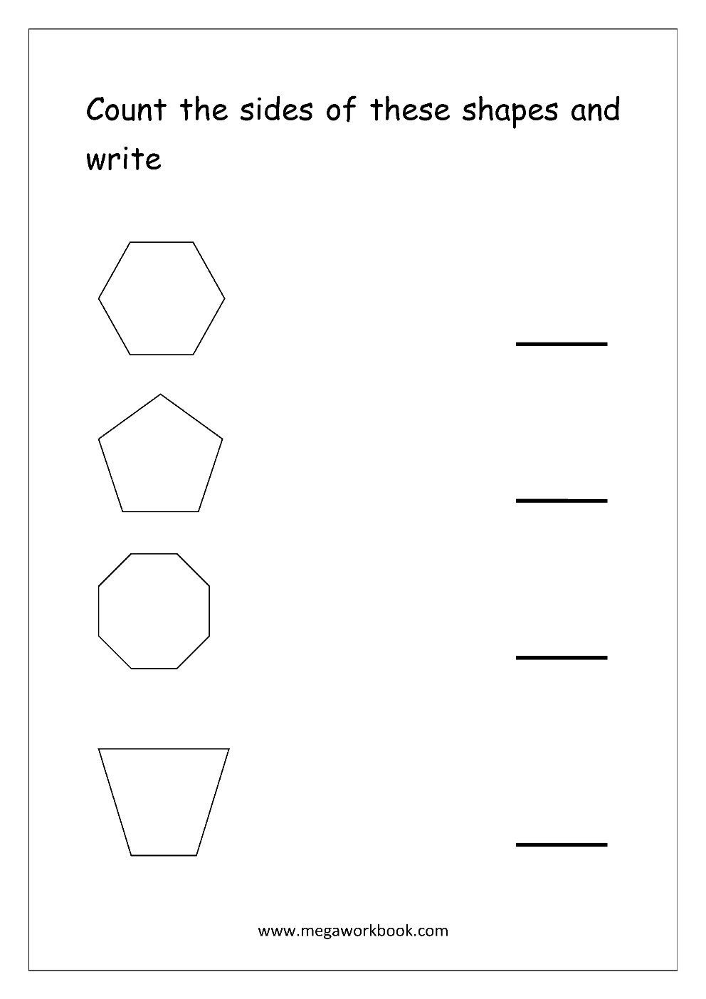 free shapes worksheets - counting the shapes