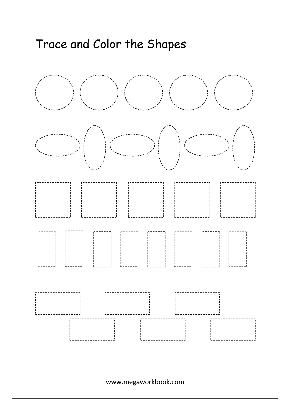 - Free Printable Shapes Worksheets - Tracing Simple Shapes - Pre Writing  Skills Worksheets For Preschool/Kindergarten - 2D Shapes (Circle, Square,  Triangle, Rectangle, Semicircle Etc.) - MegaWorkbook