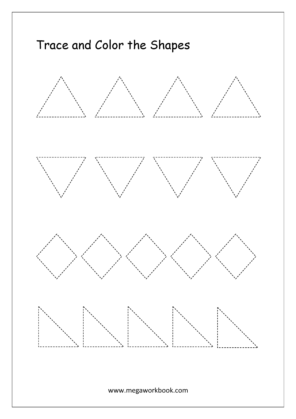 Color shapes worksheets -  Trace And Color The Shapes Triangle Diamond