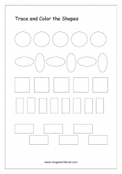 Trace And Color The Shapes (Circle, Oval, Square, Rectangle)