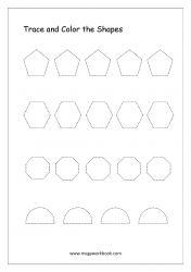 Trace And Color The Shapes (Pentagon, Hexagon, Octagon, Semi-Circle)