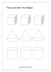 Trace And Color The Shapes (Cube, Cone, Cylinder)
