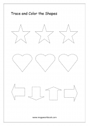 Trace And Color The Shapes (Star, Heart, Arrow)