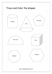 Trace And Color The Shapes - Cylinder, Cone, Pentagon, Hexagon, Cube, Octagon, Semi-Circle
