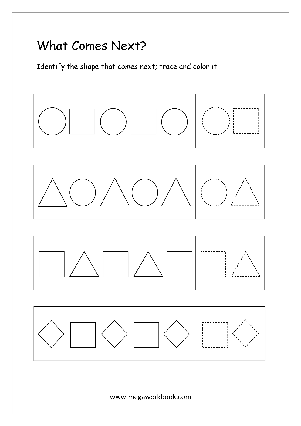 free printable pattern identification worksheets what comes next megaworkbook. Black Bedroom Furniture Sets. Home Design Ideas