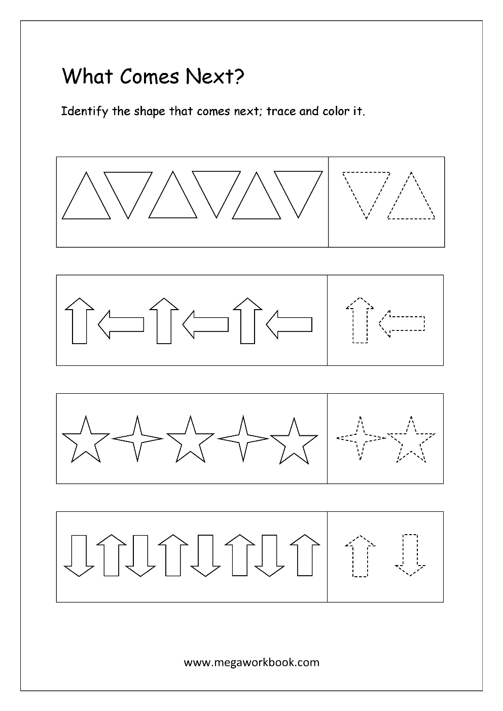 Free Pattern Identification Worksheets - What Comes Next ...