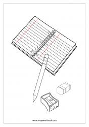 Coloring Sheet - Stationary (Notebook, Pencil, Eraser, Sharpener