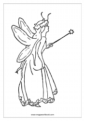 Coloring Sheet - Fairy With Magic Wand