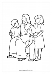 Coloring Sheet - Father With Kids