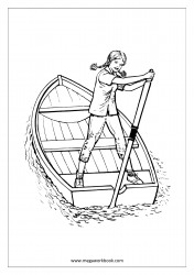 Coloring Sheet - Girl In Boat