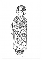 Coloring Sheet - Woman In Kimono