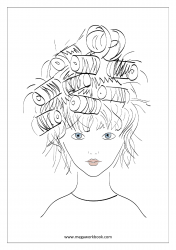 Coloring Sheet - Girl With Roller In Hair