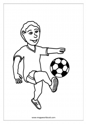 Coloring Sheet - Boy Playing Football