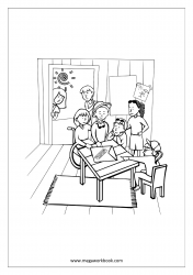 Coloring Sheet - Kids Playing