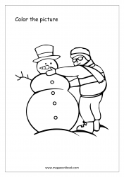 Coloring Sheet - Man With Snowman